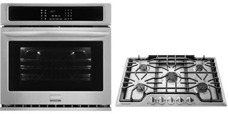 2-Piece Kitchen Package with FGEW3065PF 30 inch  Electric Single Wall Oven and FGGC3047QS 30 inch  Gas Cooktop in Stainless