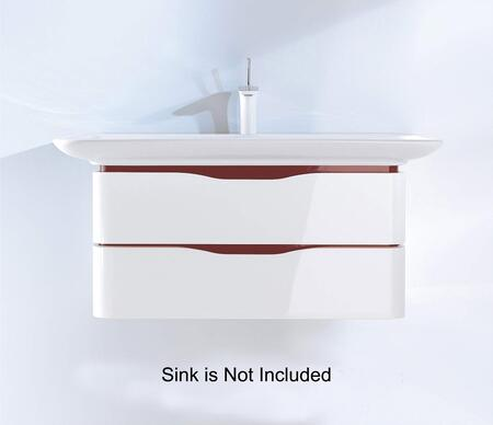 PuraVida PV676908588 32 inch  x 22 inch  Wall Mounted Vanity with Recessed Grip  2 Drawers and Rounded Corners in White High Gloss Finish with Red High Gloss Interior