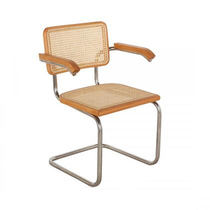 Isa FEC1406BEECH Dining Chair with Track Arms  Stainless Steel Legs and Veneered Plywood Construction in