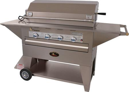 LM21040MP Masterpiece Series 48 000 BTU 4 Burner Mobile Freestanding Grill with Electronic Ignition and Heavy Duty 8