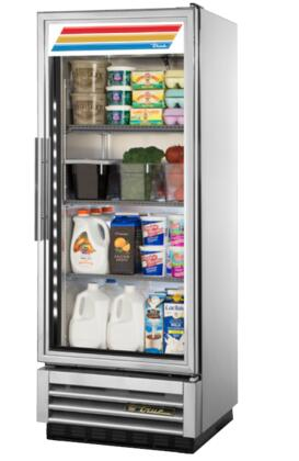 T-12G-LD 25 inch  T-Series Reach-In Glass Swing Door Refrigerator with 12 cu. ft. Capacity  Low-E Double Pane Thermal Glass Door  3 Heavy Duty PVC Coated Shelves