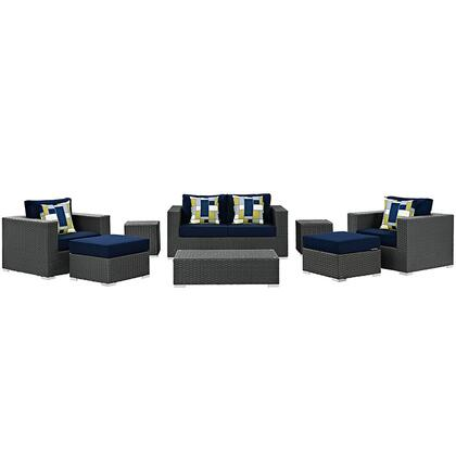 Sojourn Collection EEI-2376-CHC-NAV-SET 8-Piece Outdoor Patio Sunbrella Sectional Set with Coffee Table  Loveseat  2 Armchairs  2 Ottomans and 2 Side Tables in