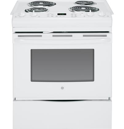JS250DFWW 30 Slide-In Electric Range with 4.4 cu. ft. Capacity  4 Coil Elements  Self-Clean  Electronic Display  Dual Element Bake  Chrome Drip