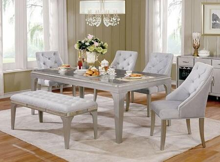 Diocles Collection CM3020T4SCBN 6-Piece Dining Room Set with Rectangular Table  4 Side Chairs and Bench in