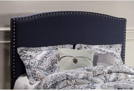Kerstein Collection 1932HKN King Size Headboard with Rails  Fabric Upholstery  Decorative Nail Head Trim and Sturdy Wood Construction in Navy