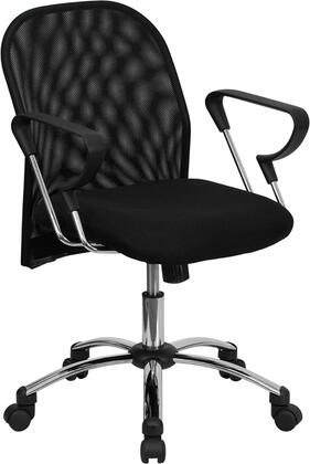 BT-215-GG Mid-Back Black Mesh Office Chair with Chrome