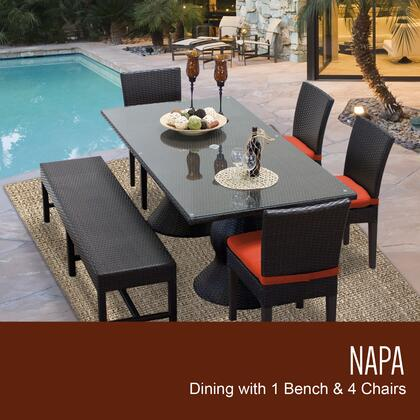 NAPA-RECTANGLE-KIT-4C1B-C-TANGERINE Napa Rectangular Outdoor Patio Dining Table With 4 Chairs and 1 Bench with 2 Covers: Wheat and