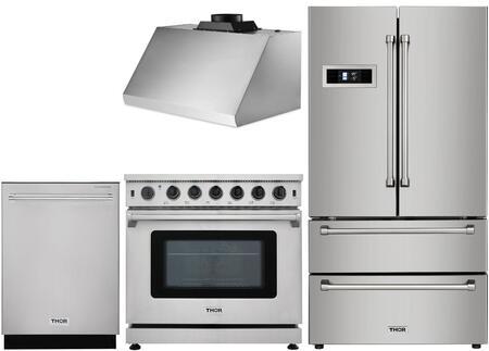 4-Piece Stainless Steel Kitchen Package with HRF3601F 36 inch  French Door Refrigerator  HRG3617U 36 inch  Freestanding Gas Range  HRH3605U 36 inch  Under Cabinet Hood  and