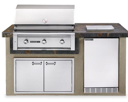 Sedona L1600GLP Deluxe Falcon Gray Island Package Includes Sedona L600PS Grill  Sedona Outdoor-rated Refrigerator  Single Side Burner and Double