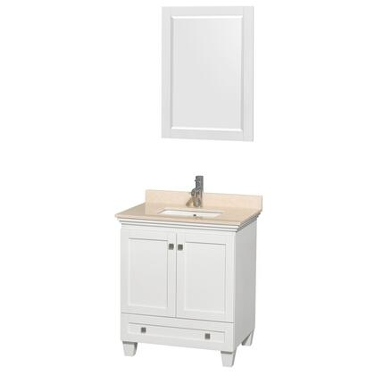 WCV800030SWHIVUNSM24  30 in. Single Bathroom Vanity in White  Ivory Marble Countertop  Undermount Square Sink  and 24 in.