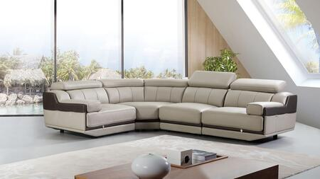 EK-L047 Collection EK-L047M-LG.TPE 4-Piece Sectional Sofa with Left Arm Facing Chair  Wedge  Armless Chair and Right Arm Facing Chair in Light
