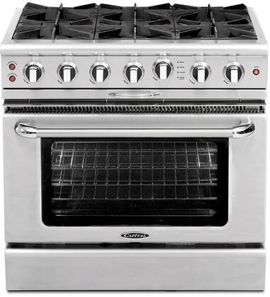 Capital Culinarian Series CGSR366 36 Inch Pro-Style Gas Range with 6 Open Burners, 4.6 cu. ft. Convection Oven, Self Clean, Infrared Glass Broiler and Rotisserie CGSR366