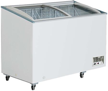 MXH14.2C Maxx Cold X-series Display Freezer with 11.8 cu. ft.  Recessed Sliding Door Handle  Aluminum Interior  White Exterior   Light  Temperature Display