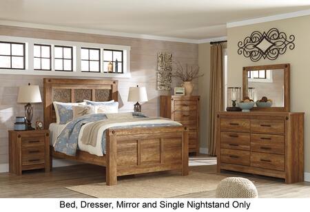 Ladimier Queen Bedroom Set With Panel Bed  Dresser  Mirror And Nightstand In Golden