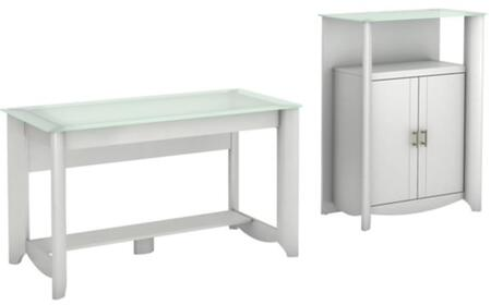 Aero Collection MY16128-03-91 2-Piece Desk Set with Writing Desk and Storage Cabinet in Pure White
