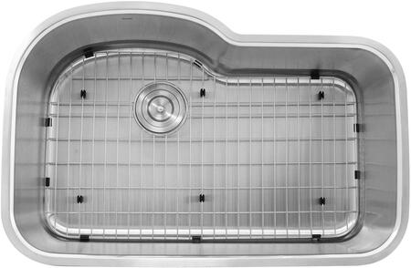 Quidnet Collection MOBYXL-18 31 inch  Single Bowl Oblong Undermount Kitchen Sink with 2 Bottom Grids and 18 Gauge 304 Stainless Steel in Brushed Satin Stainless