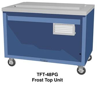 TFT46SS 46 inch  Thurmaduke Frost Top Serving Counter with 16 Gauge Stainless Steel Top  20 Gauge Stainless Steel Body  and 5 inch