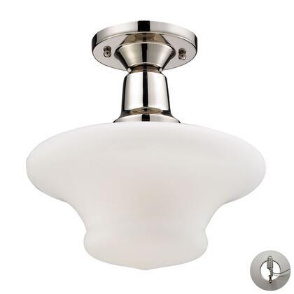 66234-1-LED Barton 1-Light Semi-Flush in Polished Nickel -