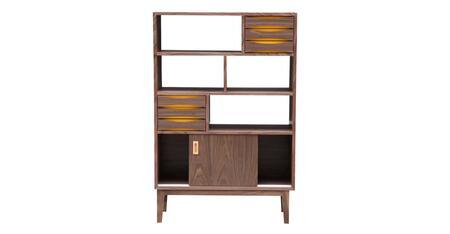 STO-BS-VODDER4T-WAL Vodder 4-Tier Upright Cabinet  Mid-Century Modern Bookcase  Walnut