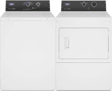 Commercial Laundry Pair with MAT20MNAWW 2.9 cu. ft. Top Load Washer and MDG20MNAWW 7.4 cu. ft. Gas