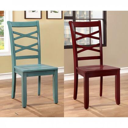 Giselle Collection CM3528RB-SC-2PK Set of 2 Transitional Style Side Chair with Cross Back and Wooden Contour Seat in Red and