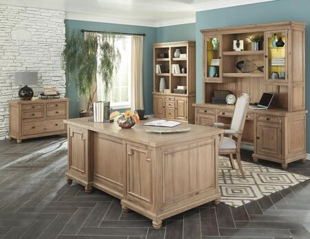 Florence Collection 801641SET 6 PC Home Office Set with Desk + Credenza + Hutch + File Cabinet + Bookcase + Armchair in Rustic