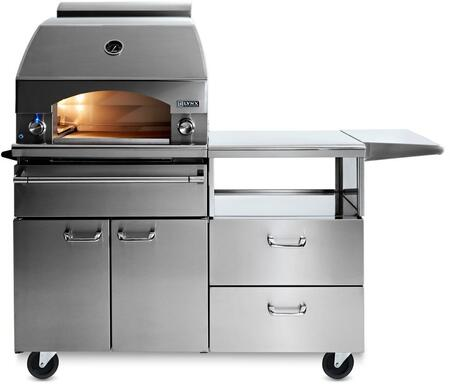 "LPZAFNG Professional Series 30"" Napoli Pizza Oven with 54"" Cart  400 sq. in. Cooking Surface  Variable Infrared Heating System and Blue LED Knob Light  in"