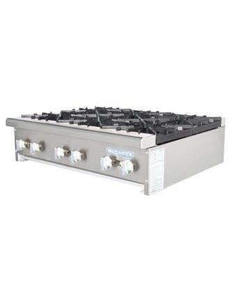 TAHP366 6 Burners High Output Counter Top Hot Plate with Specially Designed Burners  Removable Grease Pan  32000 BTU Per Burner  Bull-Nose Stainless Steel