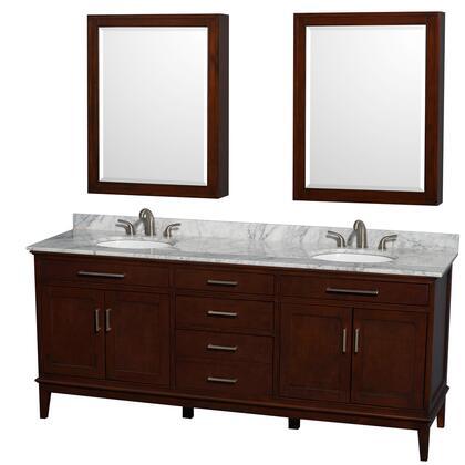 Wcv161680dcdcmunrmed 80 In. Double Bathroom Vanity In Dark Chestnut  White Carrera Marble Countertop  Undermount Oval Sinks  And Medicine