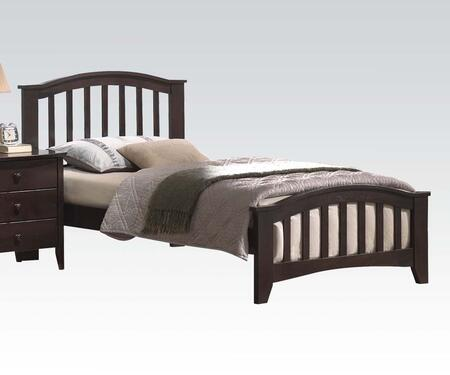 San Marino Collection 04980T Twin Size Platform Bed with Slatted High Headboard  Low Profile Slatted Footboard  Slat System Included and Wood Veneer Materials