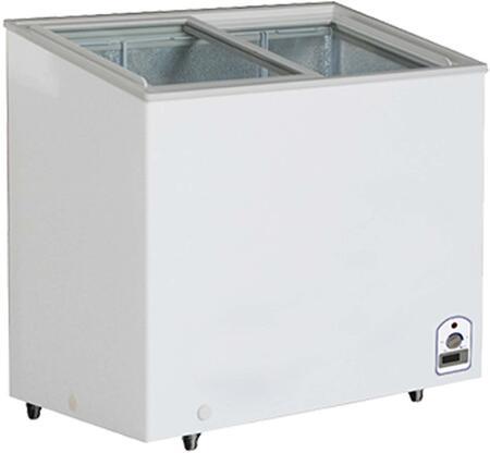 MXH7.1F Display Freezer with 7.1 cu. ft.  Recessed Sliding Door Handle  Aluminum Interior  White Exterior   Light  Temperature Display  Front Facing Drainage