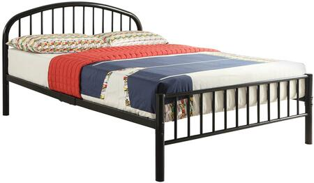 Cailyn Collection 30465FBK Full Size Bed with Curved Headboard  Low Profile Rectangular Footboard  Slat System Included  Metal Frame  Side Rails and Slats