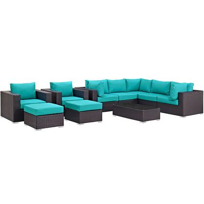 Convene Collection EEI-2169-EXP-TRQ-SET 10-Piece Outdoor Patio Sectional Set with Coffee Table  3 Armless Chairs  2 Armchairs  2 Corner Sections and 2 Ottomans