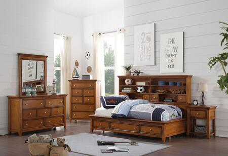 Lacey Collection 30555FSET 5 PC Bedroom Set with Full Size Daybed + Dresser + Mirror + Chest + Nightstand in Cherry Oak