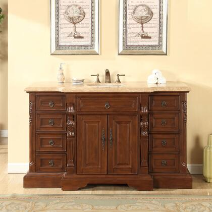 V0279TW60C 60 inch  Single Sink Cabinet with 9 Drawers  2 Doors  Travertine Top and Undermount White Ceramic Sink