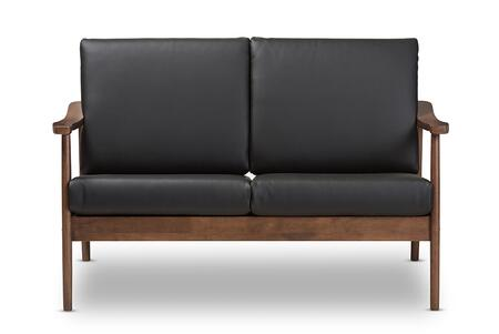 VENZA-BLACK/WALNUT BROWN-LS Baxton Studio Venza Mid-Century Modern Walnut Wood Black Faux Leather 2-Seater