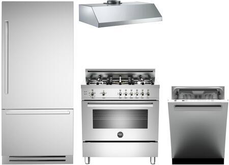 4-Piece Stainless Steel Kitchen Package with REF36PIXR 36 inch  Bottom Freezer Refrigerator  PRO365GASX 36 inch  Freestanding Gas Range  KU36PRO1XV Wall Mount