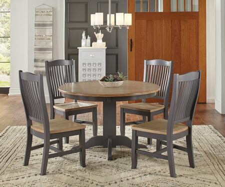 Port Townsend Collection POTSPRDT4SC 5-Piece Dining Room Set with Round Dining Table and 4x Side Chairs in Gull Grey and Seaside Pine