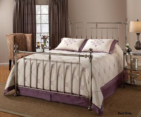1251BQR Holland Queen Size Poster Bed Set with Rails Included  Cannonball Finials and Tubular Steel Construction in Shiny Nickel