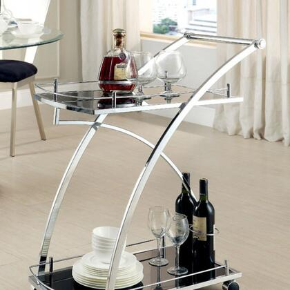 Serra CM-AC227 Serving Cart with Contemporary Style  5mm Black Tempered Glass  Chrome Base Structure  Gliding Castors in