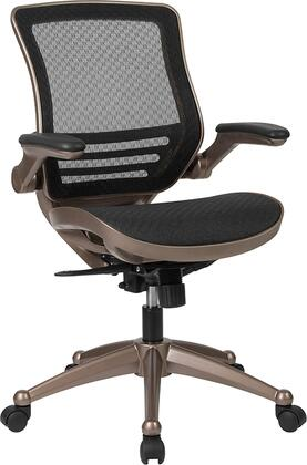 BL-8801X-GG Mid-Back Transparent Black Mesh Executive Swivel Chair with Melrose Gold Frame and Flip-Up