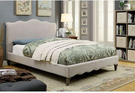 Rolanda Collection CM7722CK-BED California King Size Bed with Tapered Legs  Solid Wood Construction and Padded Fabric Upholstery in Beige