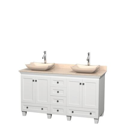 Wcv800060dwhivgs2mxx 60 In. Double Bathroom Vanity In White  Ivory Marble Countertop  Avalon Ivory Marble Sinks  And No