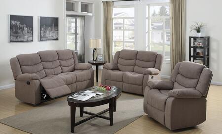 Jacinta 51415SLR 3 PC Living Room Set with Sofa + Loveseat + Recliner in Light Brown