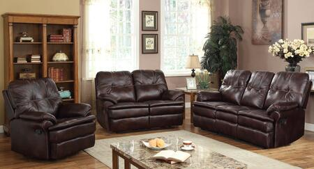 Zamora 50750SLR 3 PC Living Room Set with Sofa + Loveseat + Recliner in Brown