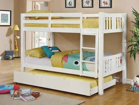 Cameron Collection CM-BK929WH-BED+TR Twin Size Bunk Bed with Trundle  10 PC Slats Top/Bottom  Front Access Fixed Ladder  Solid Wood and Wood Veneer