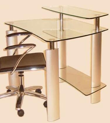 6912-DSK Clear Glass Computer Desk with Silver/Chrome 188682