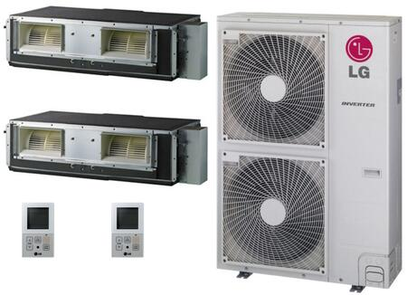 LMU480HVKIT139 Dual Zone Mini Split Air Conditioner System with 48000 BTU Cooling Capacity  2 Indoor Units  and Outdoor 705371