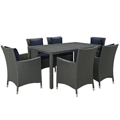 Sojourn Collection EEI-2312-CHC-NAV-SET 7-Piece Outdoor Patio Sunbrella Dining Set with 6 Armchairs and Dining Table in Canvas