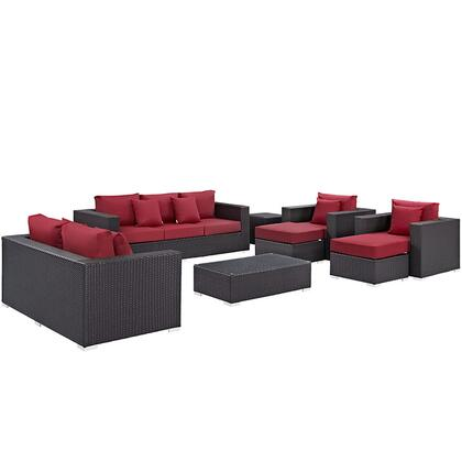 Convene Collection EEI-2161-EXP-RED-SET 9-Piece Outdoor Patio Sofa Set with Rectangle Ottoman  Loveseat  Sofa  2 Armchairs  2 Ottomans and 2 Side Tables in